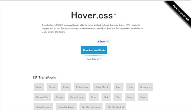 CSS3による様々なマウスホバーアニメーションをまとめたスタイルシート・「Hover.css」