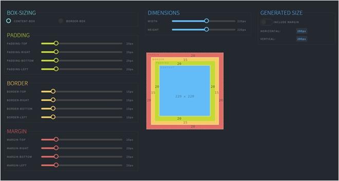 CSSのボックスモデルをインタラクティブに視覚化してくれる・「angular interactive box-model diagram」
