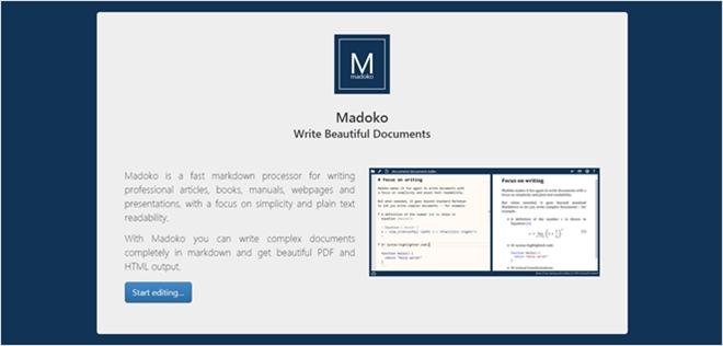 シンプルさに焦点を当てた、書籍やプレゼン、学術論文向けのMarkdownエディタ・「Madoko」