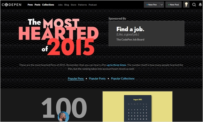 Codepenで2015年に話題になった投稿TOP100をまとめた・「MOST The HEARTED 2015」