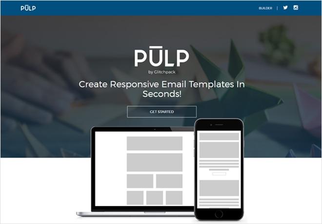 レスポンシブなEメールの雛形をユーザー登録不要で手軽に作成、ダウンロード出来る・「Pulp」