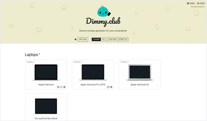 スクショを使ってスマフォやタブレットの画像に合成してくれるサービス・「Dimmy.club」