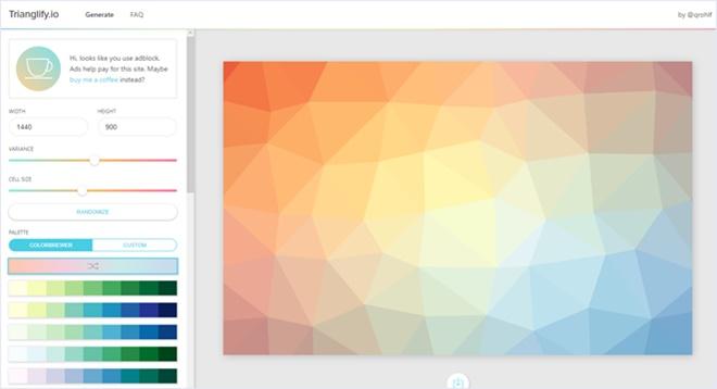 ポリゴンな背景パターンを生成できる・「Trianglify.io」
