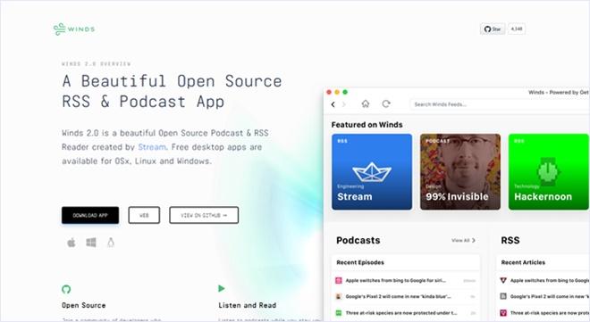 オープンソースのポッドキャスト/RSSリーダーアプリ・「Winds」