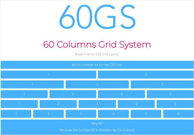 60という数値を中心に設計された実験的なCSSグリッドシステム・「60GS」