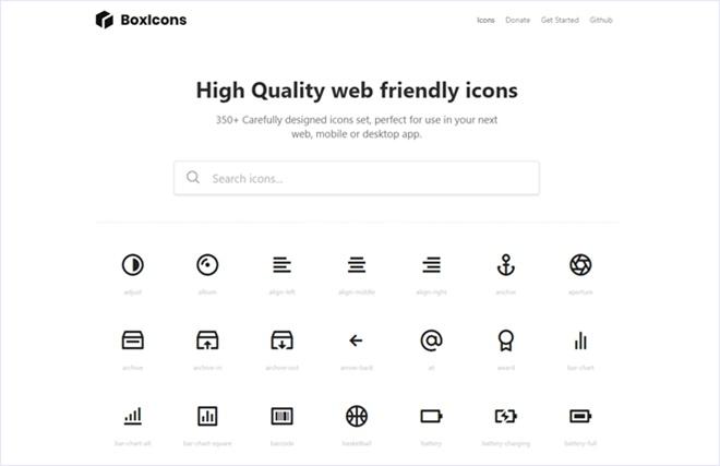 350以上あるWebフレンドリーでオープンソースなSVGアイコンセット・「BoxIcons」