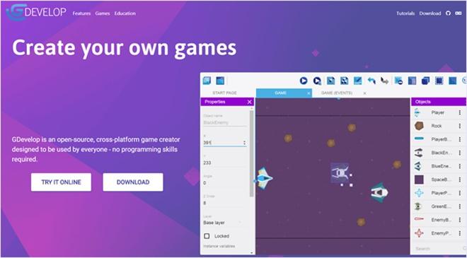 コーディング不要で簡易的なゲームアプリの制作が出来るOSS・「GDevelop」