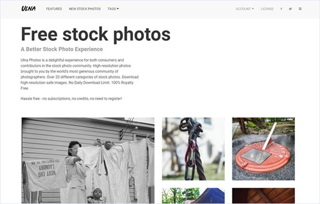 CC0のオリジナルな写真素材を配布するストックフォト・「Ulna」