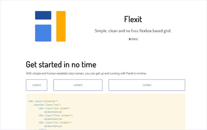 シンプルな設計の軽量なFlexboxベースCSSフレームワーク・「Flexit」
