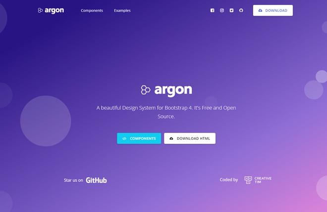 沢山のコンポーネントを兼ね備えたOSSのBootstrap 4テンプレート・「Argon Design System」