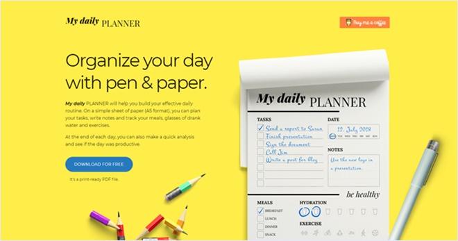 1日のざっくりとした予定表の印刷用テンプレート・「My daily PLANNER」
