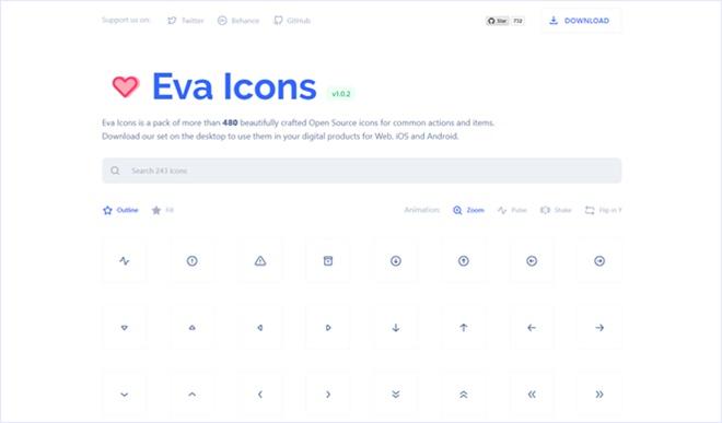 オープンソースで公開されている汎用的でミニマルなアイコンのセット・「Eva Icons」