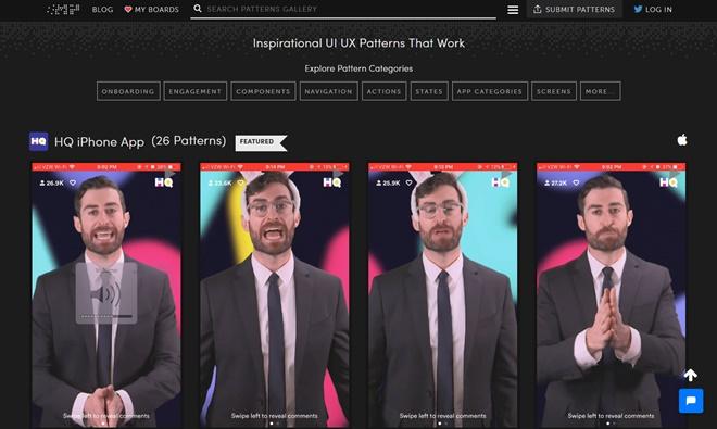 様々なスマフォアプリのUI/UXをアニメーションで確認できるデザインギャラリー・「Mobile Patterns」