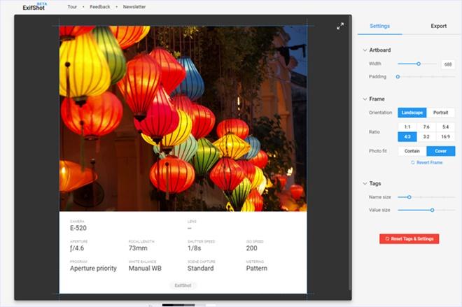 写真のメタデータを表示、画像化してダウンロードできる・「ExifShot」