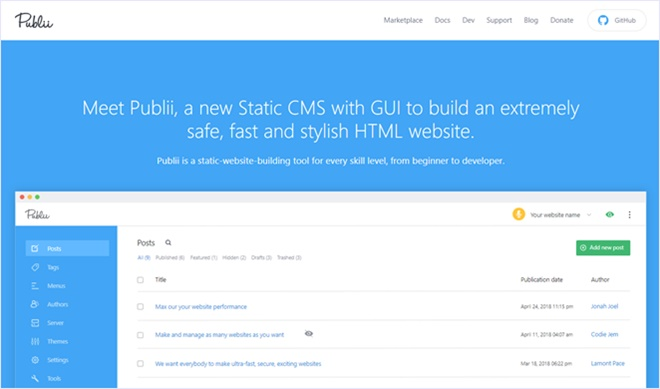 GUIで運営、管理できるオープンソースの静的サイトジェネレーター・「Publii」