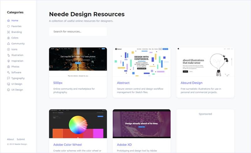 Webデザイナー向けに役立ちそうなリソースをまとめている・「Neede Design Resources」