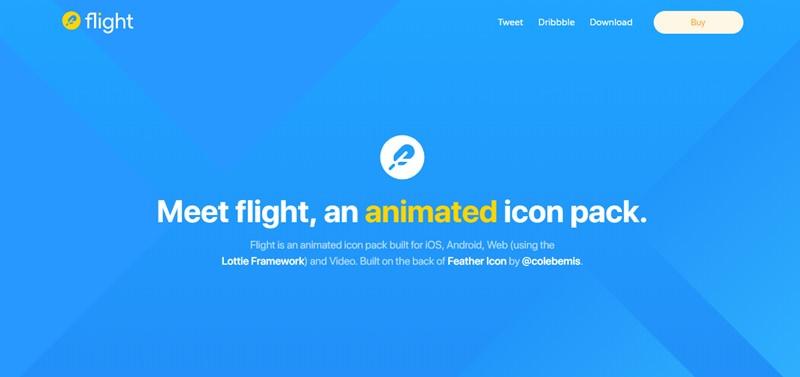 LottieフレームワークとFeather Iconプロジェクトを併用したネイティブアプリやWebアプリ向けのアニメーションアイコンセット・「flight」