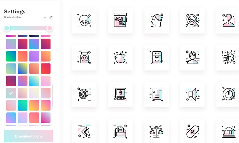 任意のグラデーションカラーで色付けてダウンロードできるSVGアイコンパック・「Gradientify」
