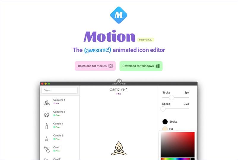 用意されたSVGのシンプルなアニメーションアイコンを編集してダウンロードできる・「Motion」