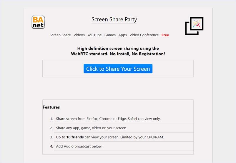 インストールやユーザー登録一切不要でスクリーンキャストをリアルタイム共有できる・「Screen Share Party」