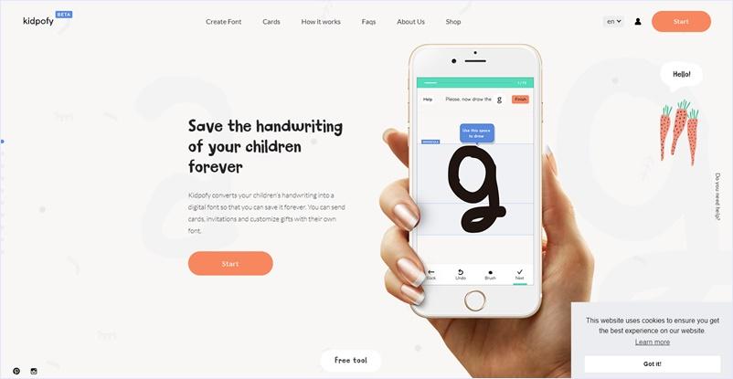 スマホやタブレットで手書きで書いた文字をフォント化してダウンロードできるキッズ向けのフォント作成アプリ・「Kidpofy」