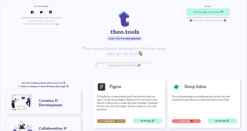 生産性や効率の向上に貢献してくれそうなツールやアプリケーションを収集している・「theo.tools」