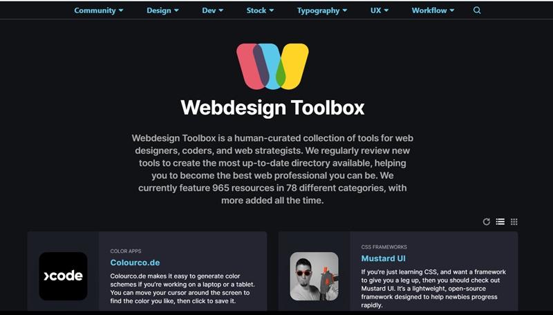 WebサイトやWebアプリのデザインや開発に役立つツールやリソースを探せる・「Webdesign Toolbox」
