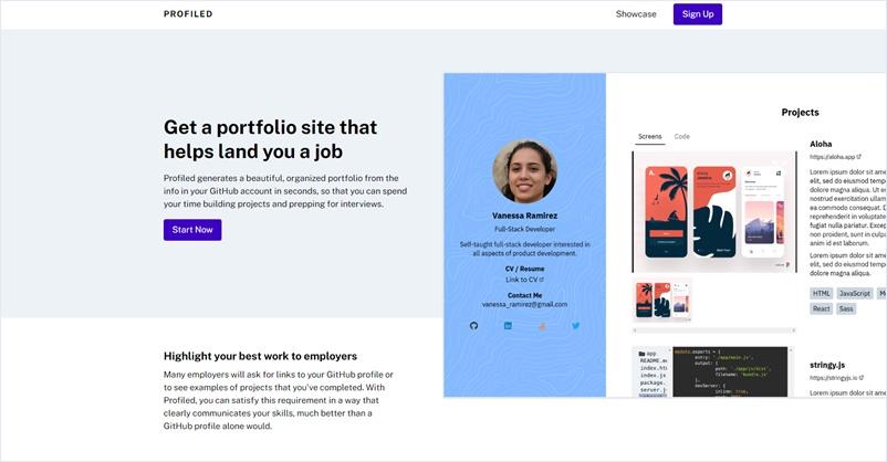 GitHubアカウントから開発者向けポートフォリオを作成出来る・「Profiled」