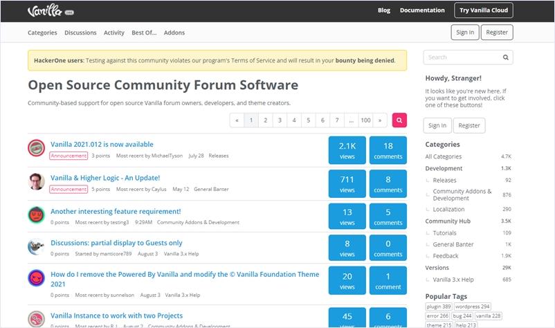オープンソースのベーシックなフォーラムアプリ・「Vanilla」