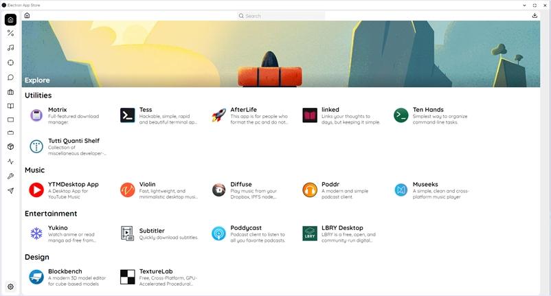 Electron製のアプリを効率よく探せるクロスプラットフォーム対応のアプリストアツール・「Electron App Store」